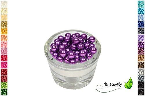 50 Perlen 8mm lila/Purpur 465 // Kuststoffperlen Bastelperlen Drahtsterne Wachsperlen Perlenkette Kunstperlen