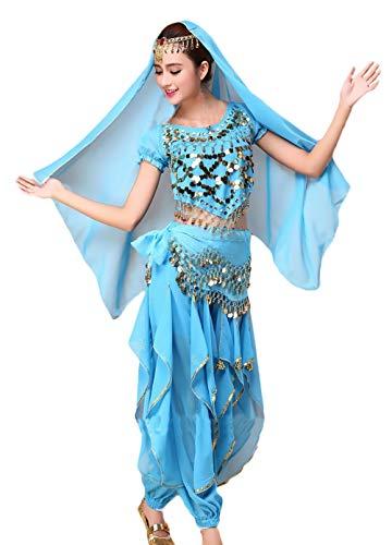 (Saoye Fashion Damen Bauchtanz Kostüm Indischen Tanz 4-Teilig mit Goldene Pailletten Mädchen Kleidung Oberteil Schleier Hüfttuch Hose Belly Indian Dance Costumes Fasching Kostüme)