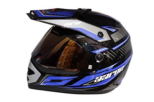 Aaron Moto X II Decor Helmet With Bluetooth Kit (Black With Blue)