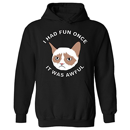 Flip Grumpy Cat I Had Fun Once It was Awful Unisex Pullover Hoodie Gr. X-Small, schwarz