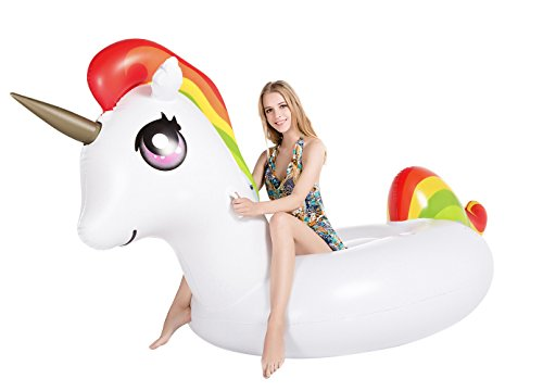 Jasonwell Neues Riesiges Aufblasbares Einhorn, Pool-Party Schwimmtier, aufblasbare Luftmatratze mit Getränkehalter