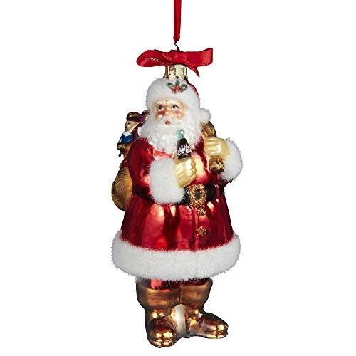 Kurt Adler Coca-Cola Weihnachtsmann mit Sack, Glas, 12,7 cm -