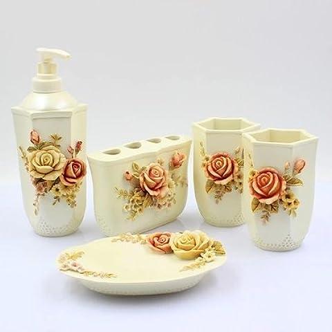 Continental 5 Piezas Baño Baño vanidad creativa juegos de tocador resina taza de lavado