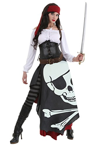 Women's Pirate Flag Gypsy Fancy Dress Costume Large
