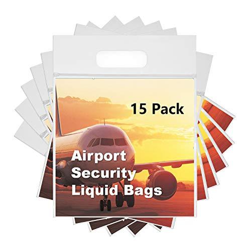 MOCOCITO 15 Stück 1 Liter Flugzeug-Beutel mit Zip-Verschluss 20 x 20 cm Kulturbeutel Transparent für Flüssigkeiten im Handgepäck, Flight Bag, Flughafen-Beutel