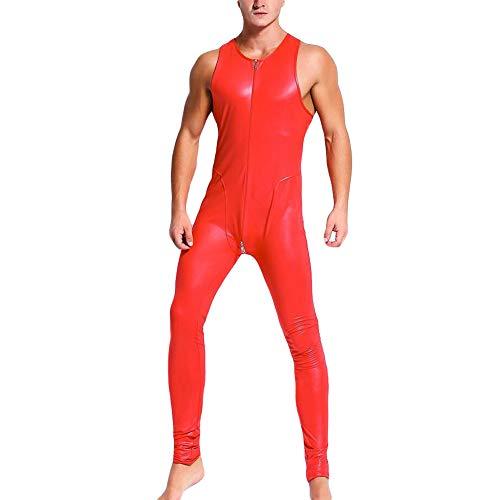 IWEMEK Herren Leder Catsuit Jumpsuit Lederlook Erwachsene Männer Kunstleder Overall Latex Wetlook Bodysuit PVC Bodys Reißverschluss Hosenaznug Playsuit Clubwear Ganzkörperanzug Kostüm Rot 2XL