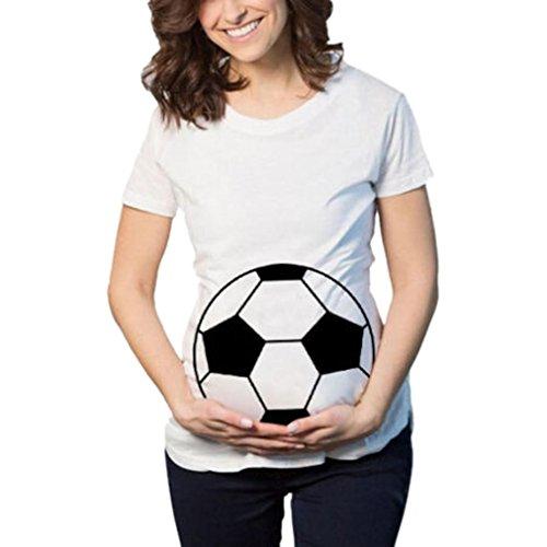 MCYs Fußball Print Schwangerschafts beiläufige Krankenpflege Bluse Mutterschaft T-Shirt Tops Mutterschaft Geschenk -Kurzarm (2XL, Weiß)