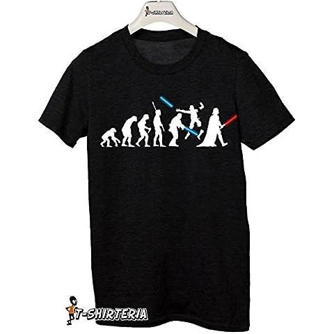 t-shirteria - Camiseta con diseño de la evolución humana de Star Wars (incluye dibujo de Darth Vader, espadas, batalla), todas las tallas, para hombre y mujer negro Talla:Medium
