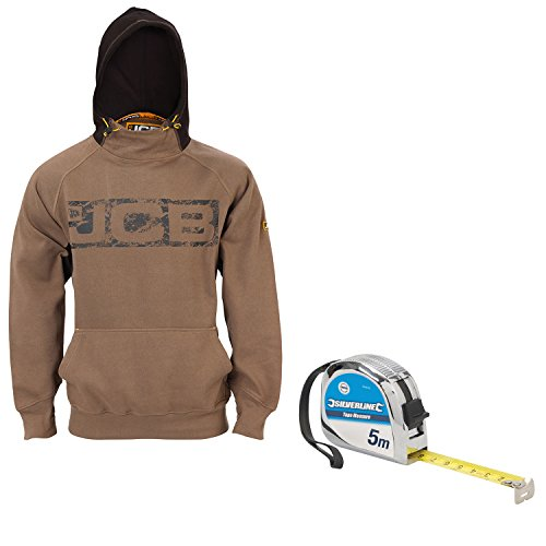 JCB Horton Hoodie Sand/Black (Sizes S-XXL) Work Hooded Jumper With Silverline 244159 5M Tape Measure