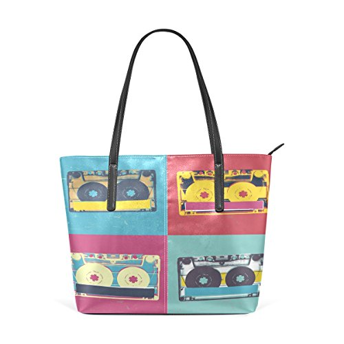 COOSUN Audio-Kassette Retro Pop-Art-Musik-Hintergrund PU-Leder-Schulter-Beutel-Geldbeutel und Handtaschen-Taschen-Tasche für Frauen Mittel muticolour