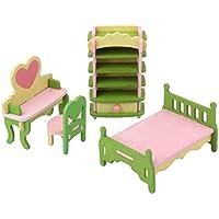 Preisvergleich für Rcdxing 1Set Holz Miniatur Möbel Schlafzimmer-Set für Puppenhaus