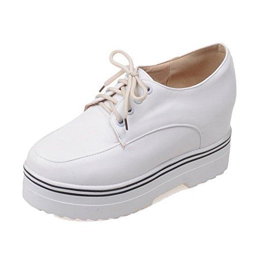 AllhqFashion Damen Schnüren Rund Zehe Hoher Absatz Rein Pumps Schuhe Weiß