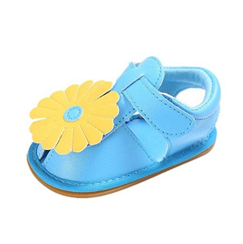 Baby Schuhe Auxma Baby Mädchen PU Leder Blume Krippe Schuhe Weiche Sole Flache Sandalen für 3-6 6-12 12-18 Monat (12-18 M, Rose) Blau