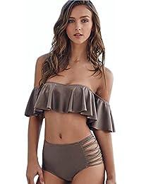 "Tefamore Mujeres Bandage Bikini Set Push-up acolchado Bra traje de baño Bañador Traje de baño (café, M-Busto:33.9"")"
