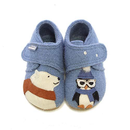 Living Kitzbühel Baby Jungen Babyklett. Eisbär & Pinguin mit Brille Hausschuhe, Blau (Blue Mountain 0559), 24 EU