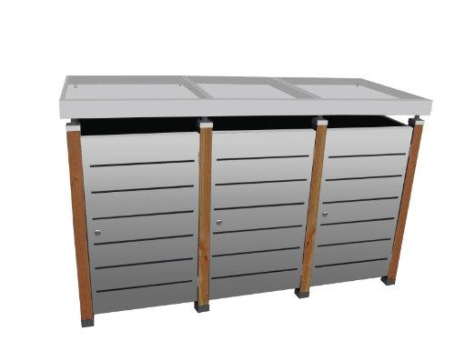 Mülltonnenbox Modell Pacco E Line für drei 240 ltr. Tonnen in Edelstahl mit Pflanzwanne
