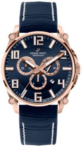 Pierre Petit Le Mans P-827D - Reloj cronógrafo de cuarzo para hombre, correa de cuero color azul (cronómetro)