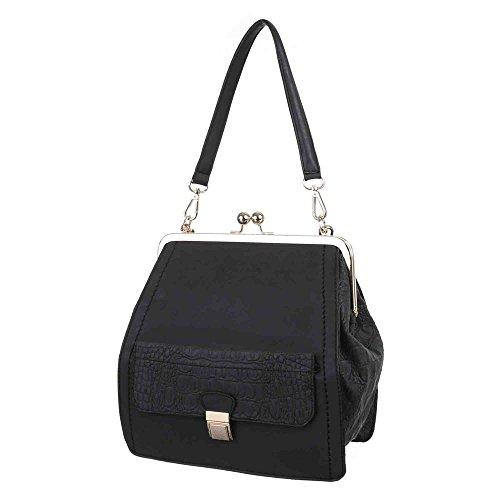 Damen Tasche, Kleine Tragetasche Mit Kisslock, Kunstleder, TA-B508 Schwarz