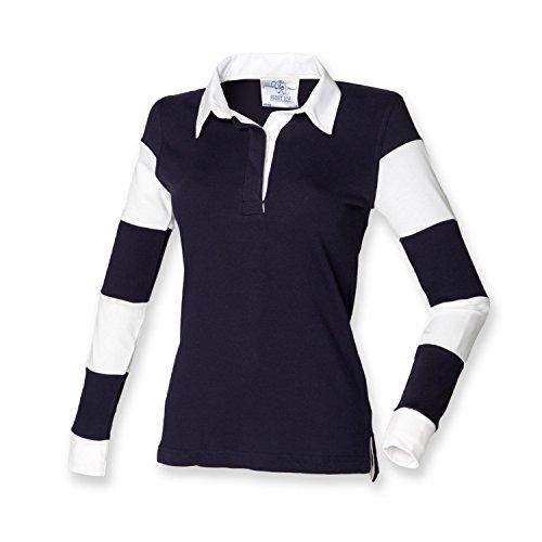Front Row–Polo–Femme Bleu marine / Blanc