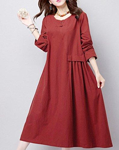 Oksakady Baumwolle & Leinen Damen Shirt Kleid Loose Fit Plus Size Langarm Langes Tunika Kleid Rot
