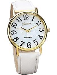 Relojes Pulsera Mujer,Xinan Digital Retro Dial Cuero Banda Relojes de Cuarzo (Blanco)