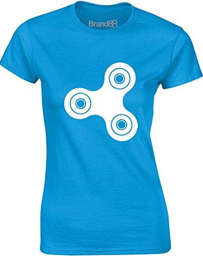 Brand88 - Fidget Spinner, Mesdames T-shirt imprimé Bleu Saphir/Blanc