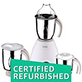 (Certified REFURBISHED) Philips Viva Collection HL1646 600-Watt Vertical Mixer Grinder with 3 Jars (Chocolate)
