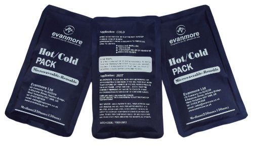 3 x Evanmore reusable hot or cold pack packs ice heat gel compress 13 x 23cm