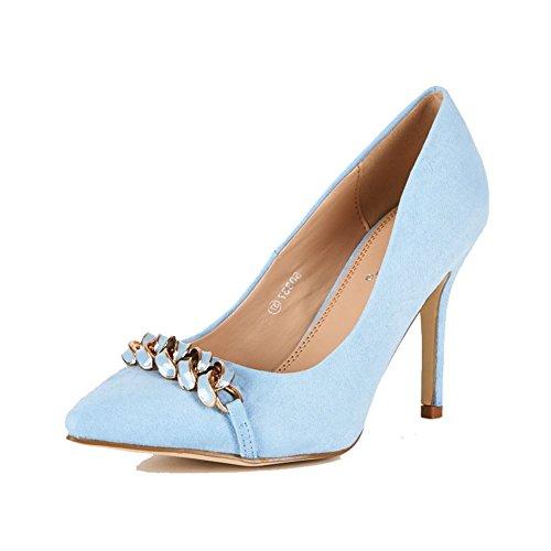 Mesdames bout pointu judiciaires aiguille chaussures avec des détails de la chaîne blue