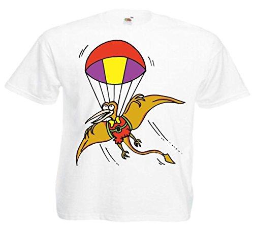 Motiv Fun T-Shirt Pteradactyl mit dem Fallschirm Cartoon Spass Fun Top Cartoon Spass Fun Top Motiv Nr. 11987 Weiß