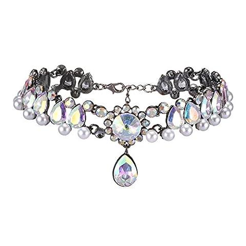Gazechimp Damen Halskette Kropfband Kristall Straß Choker Kette - Mode Schmuck - AB Farben