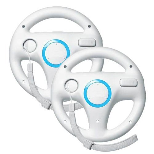 icase4u 2 X Generic Wii controller White Steering Mario Kart Racing Wheel for Nintendo Wii Remote Game (white) ...