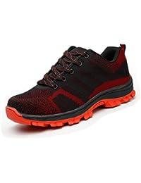 Sportive Scarpe da Lavoro Uomo - Uomo Scarpe da Corsa Ginnastica (43, Rosso)