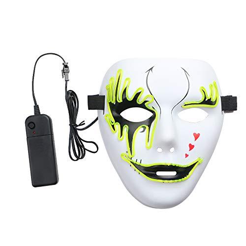 Blackr Halloween-Leuchtmaske, EL-Draht-LED, leuchtende Grimace-Maske, Vollgesicht, Gruselmaske, mit Fahrer für Festivals, Party, Kostüm, Cosplay, Zitrone, ()