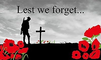 Remembrance Sunday Poppy Lest We Forget 5'x3' (150cm x 90cm) Flag