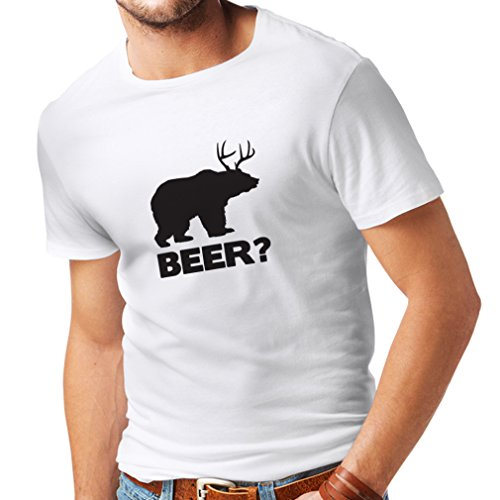 lepni.me Männer T-Shirt Bear - Funny Beer Lover Gift, Humorous, Parodic, Pub, Bar, Party, Drinkers Enthusiasts (XXXX-Large Weiß Schwarz)