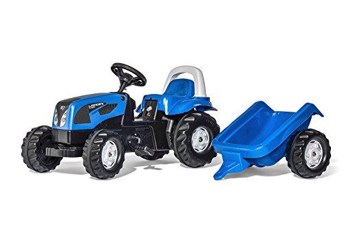 Rolly Toys 011841 rollyKid Landini Trettraktor | Traktor mit Anhänger, Überrollbügel und Motorhaube zum Öffnen | für Kinder ab 2,5 Jahren | Farbe blau | TÜV/GS geprüft