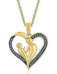 Silvernshine 9K Yellow Gold FN Aquamarine Sim Diamond Accent Mother & Child Heart Pendant Necklace