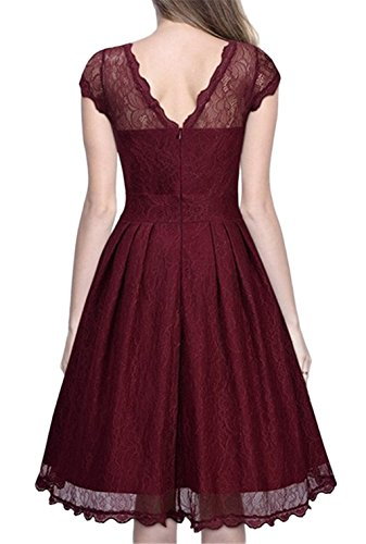 Tailloday 50s Vintage Elegant Damen Kleider kurze Ärmel Spitzenkleid Cocktailkleid Rote