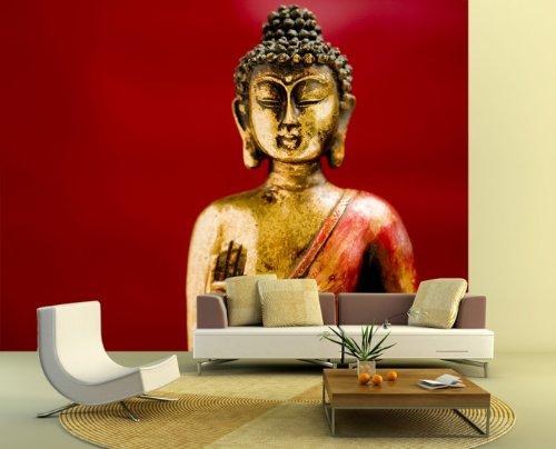 selbstklebende Fototapete - Buddha II - 130x100 cm - Tapete mit Kleber – Wandtapete – Poster – Dekoration – Wandbild – Wandposter – Wand – Fotofolie – Bild – Wandbilder - Wanddeko – Buddhismus – Religion - Glaube – Körper und Geist – Wohnzimmer – Schlafzimmer – Arbeitszimmer – Büro – Flur