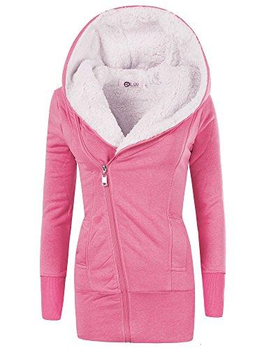 N596 Damen Jacke Mantel Winterjacke Kapuze Gefüttert Sweatjacke Hoodie, Farben:Pink;Größen:XXL