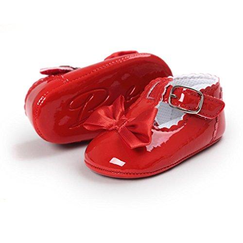 kingko® Moderne Baby Bowknot Baby Kleinkind SchuheBabyPrinzessin Soft Sohle Schuhe Kleinkind Turnschuhe Freizeitschuhe(Girl) Red