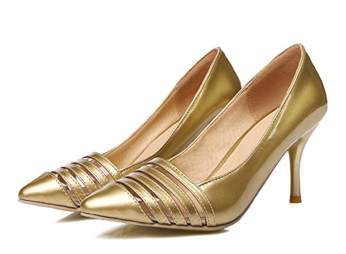 Aisun Damen Elegant Cut Out Lackleder Spitze Zehen Stiletto Ohne Verschluss Pumps Gold