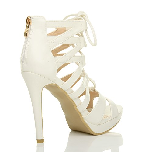 Damen Hoher Absatz Plateau Schnüren Reimchen Peep Toe Sandalen Pump Schuhe Größe Weiß Matte