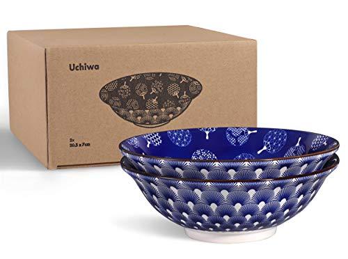 Urban Lifestyle 2x Ramen tazón de Porcelana 20cm con Azul/Blanco Japonesas Uchiwa de Costura