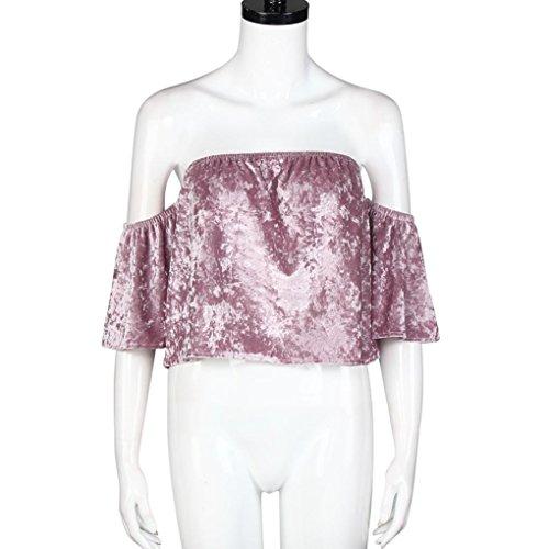 Chemisier femme , Transer ® Sexy femmes épaule chemisier manches courtes Tops Rose