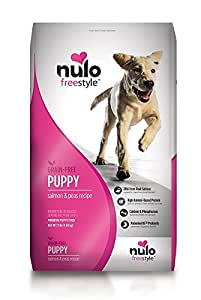 Nulo Puppy Food Grain Free Dry Kibble with BC30 Probiotic and DHA (Salmon and Peas Recipe, 11lb Bag)