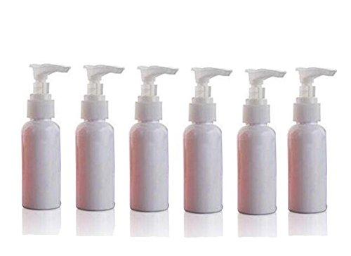 50ml (1,7oz) Multicolor plástico con COLOR BLANCO bombas Loción/dispensador de jabón Botella pequeña rellenable botella Bomba de botellas de viaje, pack de 6