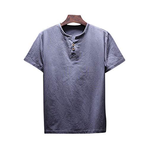 Xinvivion Blusa Camisetas para Hombres - Color sólido Lino Casual Cuello Redondo Fino y Playas Clásicas de Verano de Playa T-Shirt