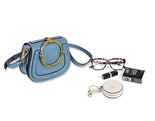 GSHGA Damen Echtes Leder Tasche Runde Ring Armband Handtasche Schulter Crossbody Sattel Retro Tasche,Pink Blue
